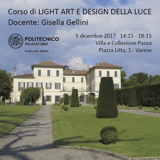 Light Art e Design della Luce   Lezione 5 dicembre 2017   Visita a Villa Panza