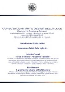 Light Art e Design della Luce – Lezione 15/11/2011
