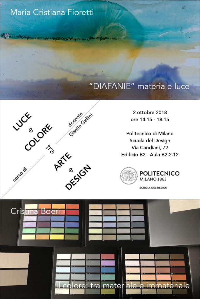 Luce e Colore tra Arte e Design | Lezione 2 ottobre 2018 | Maria Cristiana Fioretti, Cristina Boeri