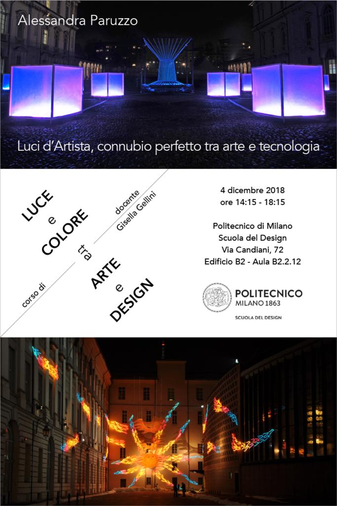 Luce e Colore tra Arte e Design | Lezione 4 dicembre 2018 | Alessandra Paruzzo
